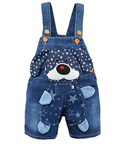 Kidscool Baby Summer Cotton Denim 3D Cartoon Star Dog Soft Short Overalls, Blue, 18-24 Months