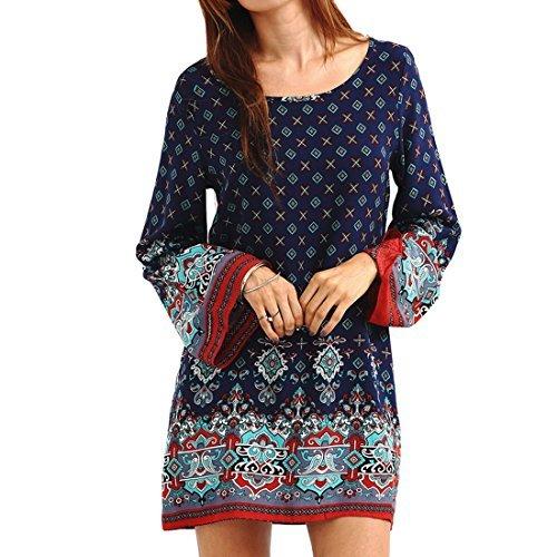 Soire Bleu Robe Manches De Rtro Courte Fminine Robe Bonboho Mini Mode Lache Bohme Baroque Casual Longues FaxqRO4