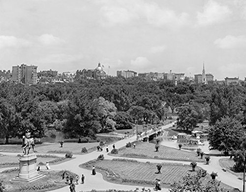 Boston Public Garden Photos - Boston Historic Black & White Photo, The Boston Public Gardens, c1906, 16x20in