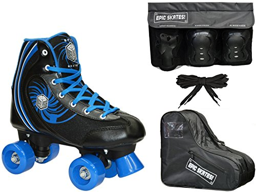 New! Epic Rock Candy Quad Roller Skate 4Pc. Bundle w/ Skate Bag & Safety Pads (Youth 1 / Small Pads)