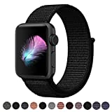 Yunsea Compatible for Apple Watch Band 42mm, New Nylon Sport Loop, with Hook and Loop Fastener, Adjustable Closure Wrist Strap, Replacement Band Compatible for iwatch, 42mm, Dark Black