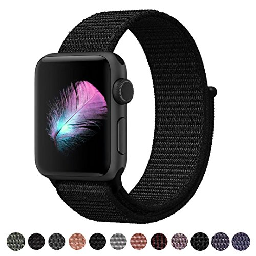 Yunsea For Apple Watch Band, New Nylon Sport Loop, with Hook and Loop Fastener, Adjustable Closure Wrist Strap, Replacement Band for iwatch, 42mm, Dark Black