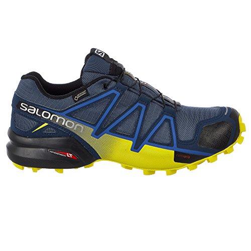 Salomon Men's Speedcross 4 GTX Trail Runner, Slate Blue/Blue Depth/Corona Yellow, 12 D US