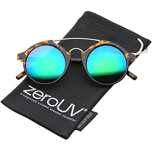 zeroUV - Modern Metal Brow Bar Iridescent Colored Mirror Round Sunglasses 46mm (Tortoise / Green Blue - 46mm Sunglasses