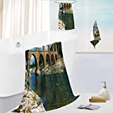 iPrint Bath Towel 3 Pieces Hand Towels Set Microfibe Customized Bath Towel Combination,Wall Southern France Architectural Historical,Customized Bath Towel Combination Quick Drying & Super Absorbent