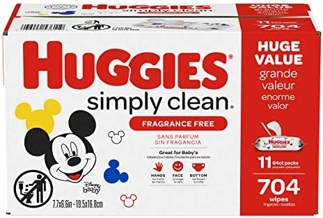 Huggies Simply Clean Unscented Baby Wipes, 11 Flip Lid Packs (704 Wipes Total)    Huggies Simply Clean Fragrance Free Baby Wipes deliver the perfect combination of convenience and versatility. Perfect for sensitive baby bottoms, as well as wiping hands, faces and surfaces for toddlers & children. Simply Clean unscented baby wipes are a great solution wherever you go, whether it's around the house, at the playground or in the car. Because Kids Outgrow Diapers, Not Messes. Simply Clean Wipes are hypoallergenic, dermatologically tested & pH-balanced to help maintain healthy skin. They're also fragrance free, alcohol free, paraben free and do not contain phenoxyethanol or MIT. Huggies Simply Clean Wipes are available in a variety of package options, perfect for use at home and on the go: flip lid packs, refill packs, reusable nursery tub and the stylish Clutch 'N' Clean refillable travel pouch. You can also choose between Fragrance Free and Fresh Scent varieties. Don't get caught without Huggies wipes! Sign up for Subscribe & Save to ensure you always have Huggies Simply Clean Wipes on hand. Join Huggies Rewards+ Powered by Fetch to get rewarded fast. Earn points on Huggies diapers and wipes, in addition to thousands of other products to redeem for hundreds of gift cards. Download the Fetch Rewards app to get started today!