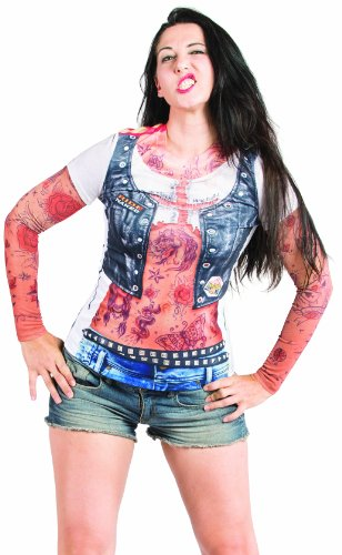 Faux Tattoo Leather (Faux Real Women's Ladies Tattoo Sleeves Contemporary Missy T-Shirt, Multi, Large)