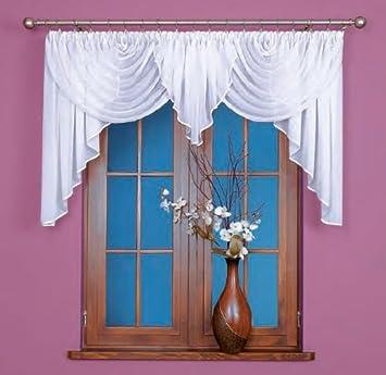 Home Decor Gardinen Bogen Kurz Store Vorhang Knittern Voile Weiß Mit