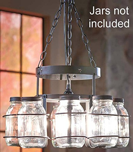 Chandelier Country Decor Wrought Iron Frame Hanging Chain Decoration knl store