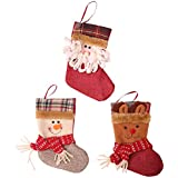 """Christmas Decoration Xmas Tree Hanging,3pcs Christmas Stockings 7"""" Mini Candy Gift Bag Santa Snowman Reindeer Xmas Character Cute Toy stockings Holiday Gift for Party Decorations"""