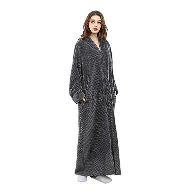 a1824c34c2 Image Unavailable. Image not available for. Color  Unisex Flannel Bath Robe  Long Plush Fleece Sleepwear Zip-Front Pajamas Women Men