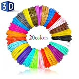 Filament Refills for 3D Pen CFTech 1.75mm PLA Material 20 Color/ 16 Feet Per Color Plastic Doodle Supplies Kit Work with 3D Printing Drawing Painting Pen and Printer