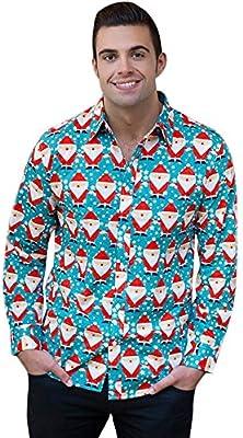 Xmas Hombre Camisa lonshell Navidad Slim Fit plancha libre de planchar ligero para Business Tiempo Libre boda, mujer, azul celeste: Amazon.es: Deportes y aire libre