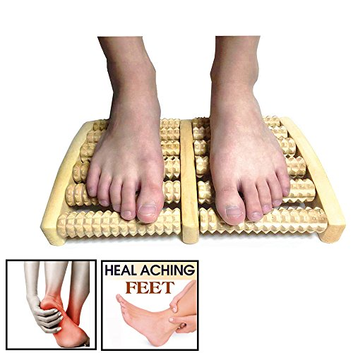 Wooden Dual Foot Massager Roller Pain Relief for Plantar Fasciitis, Heal Pain and Stress Massage, Relax, Sooth and Relieve Foot Pain and Aches – Great Gift Idea