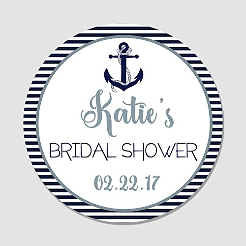 40 Personalized Navy & Gray Anchor Nautical Themed Bridal Shower Favor Label Stickers - Customized Round Party Favor Tags for Bridal Shower, Baby Shower, Wedding Shower