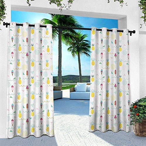 Hengshu Abstract, Outdoor Curtain Waterproof Rustproof Grommet Drape,Eighties and Nineties Themed Ice Cream and Pineapple Design Retro Illustration, W84 x L108 Inch, Multicolor