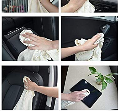Trainshow Chamois Leather Cloth for Car Washing Cleaning Natural Genuine Large Deerskin Shammy Drying Towel for Car and Kitchen 3-Pack 12.6X20