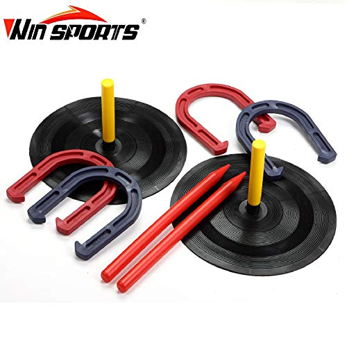 (Rubber Horseshoes Game Set for Outdoor Indoor Games-Includes 4 Horseshoes,2 Pegs,2 Rubber Mats,2 Plastic dowels.1 Mesh Bag-Beach Games Perfect for Backyard and Fun for Kids and Adults!(Red&Blue))