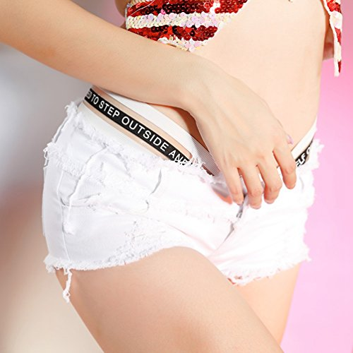 Band Jeans Hot Decorazione Sexy Nightclub Estate Cerniera Donna Yuanu Bianco Bassa Bottone Lettera Confortevole Pants Pantaloncini Vita xBw86qXpw