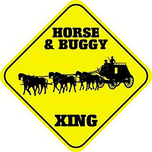 (Houseuse Horse & Buggy Corssing Sign Caution Signs Funny Metal Crossing Wall Art Decor 12x12)