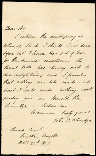 John Taylor Coleridge Autograph Letter Signed 10/22/1817
