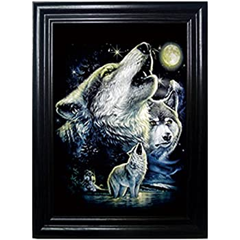 WOLF PACK FRAMED Wall Art-Lenticular Technology Causes The Artwork To Flip-MULTIPLE PICTURES IN ONE-HOLOGRAM Type Images Change--MESMERIZING HOLOGRAPHIC Optical Illusions By THOSE FLIPPING PICTURES