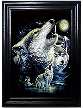 wolf pack framed wall art lenticular technology causes the artwork to flip multiple pictures - Multiple Photos In One Frame