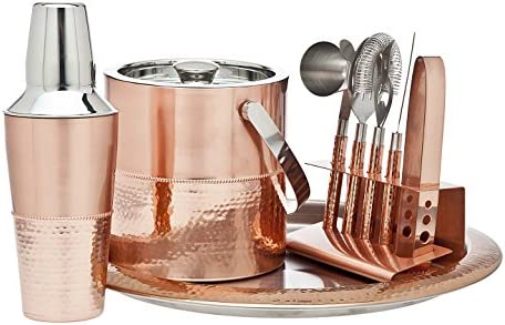 Godinger 9 Piece Barware Set, Copper