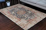 RUSTIC Collection Antique Style Wool Exposed Cotton and Jute Oriental Carpet Area Rug Rugs Charcol Rust Beige 7008 Black 5x7 6x8 5'2x7'4