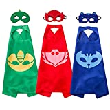 #4: Superhero Masks Costumes and Dress up For Kids - Superhero Catboy Owlette Gekko Capes and Masks 3PCS