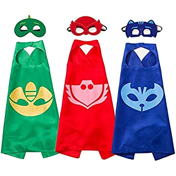 White sugar PJ Masks Costumes and Dress up for Kids - Capes and Masks for Catboy Owlette Gekko