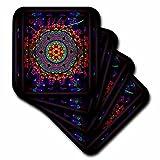3dRose cst_24832_3 Mandala 4 Mandala India Buddhism Hinduism Psychedelic New Age Harmony Balance Meditation Ceramic Tile Coasters, Set of 4