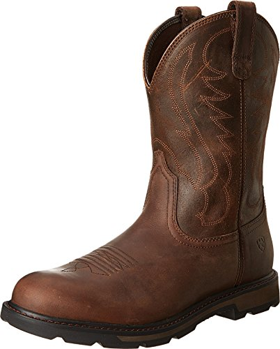 Ariat Men's Groundbreaker Pull-On Work Boot, Brown/Brown, 10.5 M US