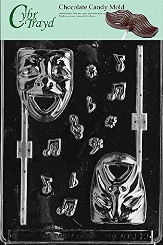 Cybrtrayd Life of the Party J019 Comedy and Tragedy Mask Lolly Chocolate Candy Mold in Sealed Protective Poly Bag Imprinted with Copyrighted Cybrtrayd Molding (Comedy Tips)
