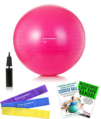 Therapeutic Ball Exercise (Yoga Ball – 55 cm Stability Ball - with Hand Pump, Exercise E-Book and Bonus Resistance Loop Bands for Yoga, Pilates and Core Training)
