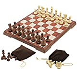 """Magnetic Folding Chess Set,11""""x 9.64"""" Portable Travel Chess Game Board Set,Magnetic Crafted Chess Pieces Storage with 2 Flannelette Bags,Perfect Kids Beginners and Adults CA"""