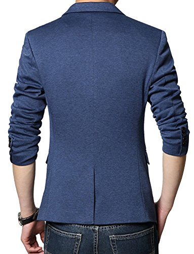 DAVID.ANN Men's Casual Slim Fit One Button Center Vent Blazer Jacket,Blue #3625,Medium