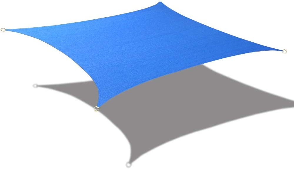 Alion Home 10' x 10' Waterproof Woven Sun Shade Sail in Vibrant Colors (Royal Blue)