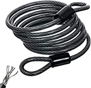 Cable Lock, Bike Cable Lock, Bike Security Steel Cable 4FT, Braided Steel Flex Lock Cable 8mm Thick Heavy Duty