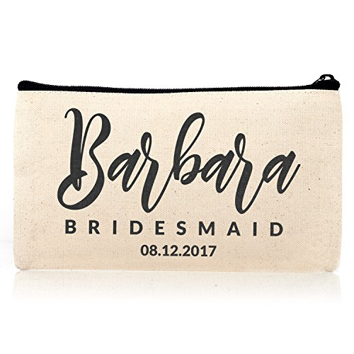 Personalized Cosmetic Bag Travel Makeup Pouch Wedding Bridal Party DSG 15 set of 6