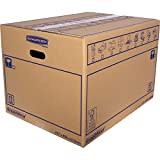 SmoothMove Heavy Duty Double Wall Cardboard Moving and Storage Boxes with Handles - 113 Litre, 40.5 x 45.5 x 61 cm (10 Pack)