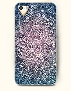 OOFIT New Apple iphone 5 / 5S Hard Back Case - MANDALA CIRCLE - Black Beige Flowers Petal Mandala Circles