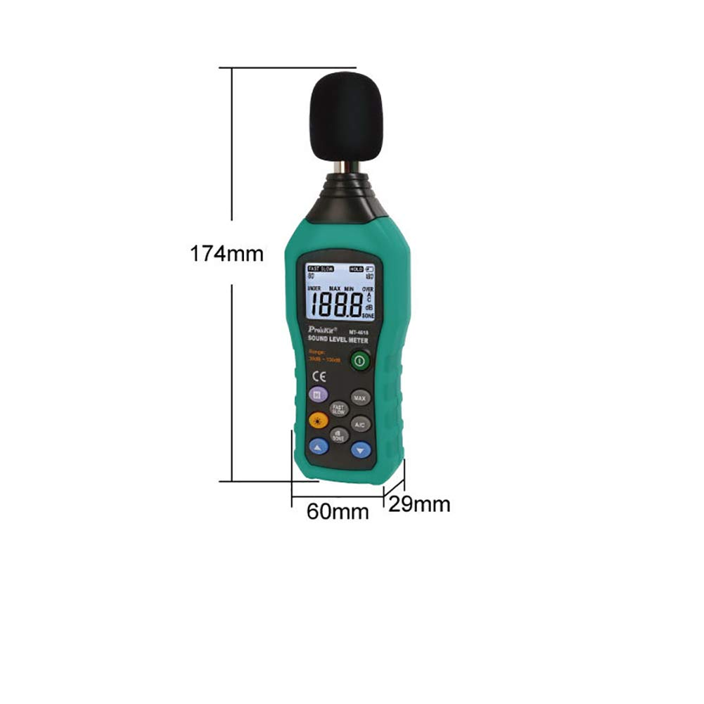 Data Logging Function Sound Level Decibel Meter,with Backlight Display High Accuracy Measuring 30dB~130dB Instrument Compact Professional