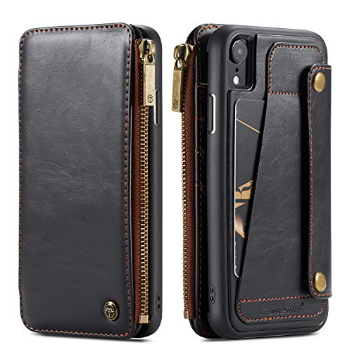 Wallet Leather Case for Apple iPhone XR,Black 4 Card Slot (ID Card,Credit Card) 2 Money Pockets(one Zipper) Kickstand Full Protection 6.1inch Removable Design Best Gift for Girls Boys Unisex