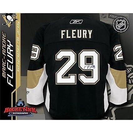 Autographed Marc-Andre Fleury Jersey - Black Reebok Premier - Autographed NHL  Jerseys 459da894887