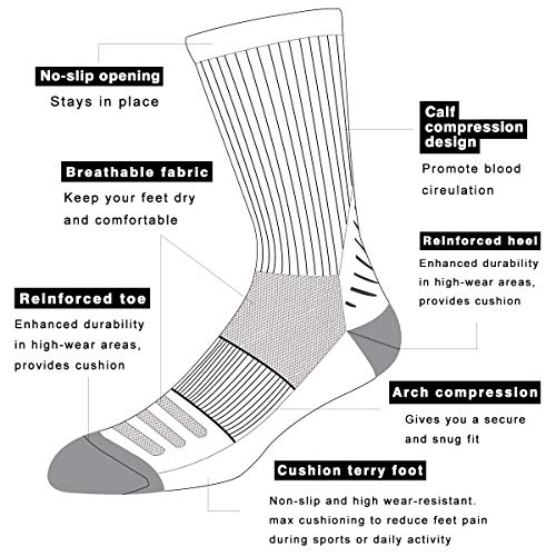 COOVAN Men's 6P-Pack Premium Athletic Crew Socks Men Thick Cushion Casual Work Sock With Moisture Wicking Black 6 Fits mens shoe size 7-13