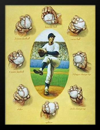 Buyartforless Framed The Art of The Pitch by David Marrocco Baseball Pitching Pitcher Player Lessons Demonstrations Instructional, 21.25