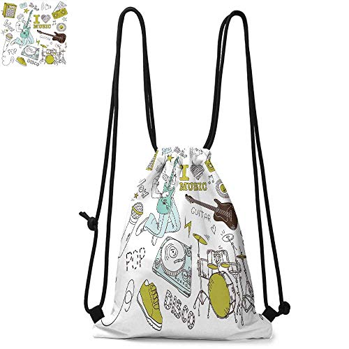Popstar Party Made of polyester fabric I Love Music Themed Sketch Composition Instruments Musician Girl Waterproof drawstring backpack W13.4 x L8.3 Inch Khaki Light Blue Brown