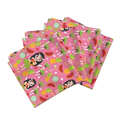 Roostery Hawaii Hula Watermelon Summer Palm Tree Girls Pineapple Linen Cotton Dinner Napkins Exotic Hula Girl Tropical by Littlesmilemakers Set of 4 Dinner Napkins by Roostery