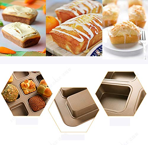 MZCH 9-Cavity Brownie Pan,Heavy-duty Carbon Steel Mini Bread Pan,Non-Stick Loaf Pan,11 by 11 inches,Gold